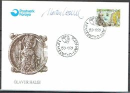 Faroe Islands 1995. 1000 Anniv King Olaf II.  Michel 288  FDC.   Signed. - Féroé (Iles)