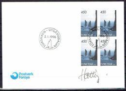 Faroe Islands 1996.  Landscape.  Michel 291, 4-block  FDC.   Signed. - Féroé (Iles)