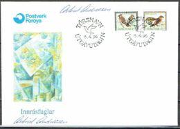 Faroe Islands 1996.  Invasion Birds.  Michel 298 - 99   FDC.   Signed. - Féroé (Iles)
