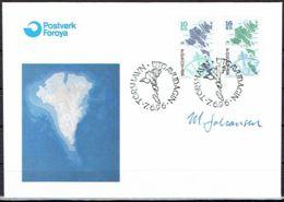 Faroe Islands 1996.  Map.  Michel 303-04   FDC.   Signed. - Féroé (Iles)