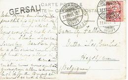 Heimat Schweiz Schiffspost LUZERN-FLÜELEN 27.7.06 Schiff Mit Langstempel GERSAU Nach HEYST (Belgium) - 1882-1906 Armarios, Helvetia De Pie & UPU
