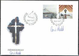 Faroe Islands 1998.  Frederikschurch In Nes.  Michel 345-46 FDC.  Signed. - Féroé (Iles)