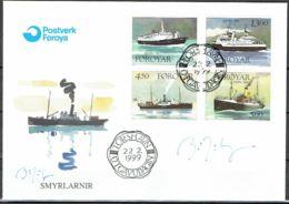 "Faroe Islands 1999.  Supply Ship ""Smyril.""  Michel  348-51 FDC.  Signed. - Féroé (Iles)"
