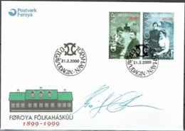 Faroe Islands  2000. 100 Anniv Community College Of Faroe Islands.  Michel  372-73  FDC.  Signed. - Féroé (Iles)