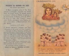 """08872 """"CALENDARIETTO - NAPOLI - SANTUARIO DELLA  MADONNA DELL'ARCO - 1951 - EFFIGE DELLA MADONNA CON BAMBINO"""" - Petit Format : 1941-60"""