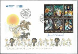 Faroe Islands 2001. Nordic Sagaworld.  Michel  396-401.  FDC.  Signed. - Féroé (Iles)