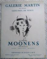 AFFICHE ANCIENNE ORIGINALE EN LITHOGRAPHIE MOONENS Galerie Martin St Paul De Vence Devaye Imprimeurs Cannes - Affiches