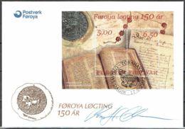 Faroe Islands 2002.  Reintroduction Of The Parliament.  Michel   Bl.13 FDC.  Signed. - Féroé (Iles)