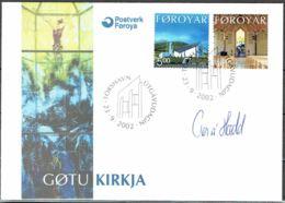 Faroe Islands 2002.  New Church Of Gøta.  Michel  433-34  FDC.  Signed. - Féroé (Iles)
