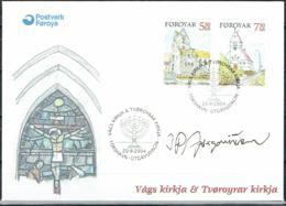 Faroe Islands 2004. Churches.  Michel 511-12 FDC.  Signed. - Féroé (Iles)