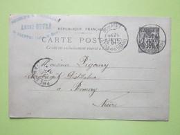 Carte Postale (FÛTS VIDES) Cachets ANDRE OUVRE à SOUPPES-SUR-LOING (77) 29/01/1901 Entier Sage Noir 10c - Entiers Postaux
