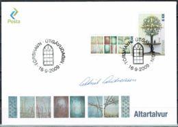 Faroe Islands 2009. Altar Pictures.  Michel 685-86 FDC.  Signed. - Féroé (Iles)