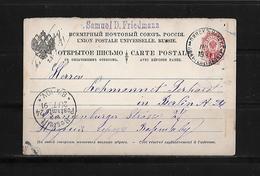 1891 Russia → 4 Kop Red Postal Stationery Postcard Pinsk Cover To Berlin, Germany - Briefe U. Dokumente