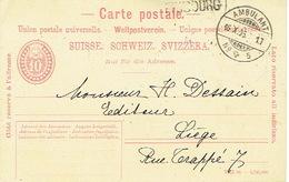 Suisse Entier Postal AMBULANT 16.10.1906 Griffe De FRIBOURG Vers LIEGE (Belgique) - 1882-1906 Armarios, Helvetia De Pie & UPU