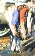 Maldives - MAL-C-31B, Man Carrying Fish, Fishery, 1/04, Used As Scan - Maldiven