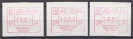 Belgium 3 MNH Machine Stamps - Franking Machines