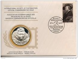 Allemagne. Enveloppe Avec Un Timbre Et Une Médaille Argent Premier Titre. Rubens - Allemagne