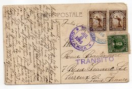 Costa-Rica--1916--carte Postale Animée De NAPLES(Italie)  SAN JOSE Pour LE PERREUX (France)--griffe TRANSITO-timbres-- - Costa Rica