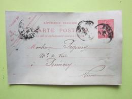 Carte Postale écrite CHAMPLIN (58) Oblitérée à PREMERY (58) Entier Postal Semeuse 10c Vermillon - Entiers Postaux