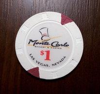 CASINO CHIP $1 Monte Carlo LAS VEGAS Nevada TOKEN FISH FICHES CHIPS JETON - Casino