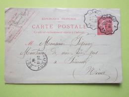 Carte Postale CHEVANNES (58) Oblitérée 18/10/1904 à NEVERS A CLAMECY & PREMERY (58) Entier Postal Semeuse 10c Vermillon - Entiers Postaux