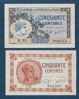 Chambre De Commerce De Paris -  2 Billets De 50 Centimes - Chambre De Commerce