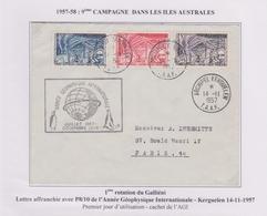 TAAF - Iles Australes - Kerguelen 1957- Agi - P8/10 - Pj - Galliéni - Covers & Documents