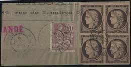 1849 - 1850 Fragment Céres N°3h 20c Noir/ Teinté Bloc De 4 Oblitération Tardive De 1901 Avec 20c Mouchon Signé Robineau - 1849-1850 Ceres