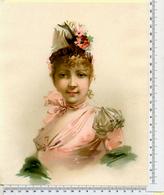 CHROMO  LITHOGRAPHIE  GRAND FORMAT  24  / 20 Cm  FEMME AVEC UN CHAPEAU FLEURI - Vieux Papiers