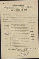 Guerre 39 Commissariat Question Juive Judaica Persécution Raciale Déclaration Statuts Des Juifs Loi 2 6 41 Mareil Marly - Marcophilie (Lettres)