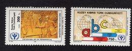 672667342 TURKISH CYPRUS 1990 POSTFRIS MINT NEVER HINGED POSTFRISCH EINWANDFREI SCOTT 294 295 INTL LITERACY YEAR - Chypre (Turquie)