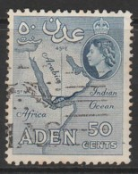 Aden 1953 -1959 New Daily Stamps 50 C Blue SW 54 O Used - Aden (1854-1963)