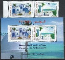 Tunisia. Scott #   MNH Set & S/sheet. Euromed Houses. Joint Issue Of 2018 - Joint Issues