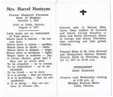 België(1919) , Delhi (Can., 1977): Mrs.Marcel Monteyne ( Margaret Pïerssens) =naar Canada Uitgeweken Belg (2 Scans) - Images Religieuses