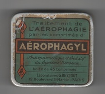 PHARMACIE - BOITE EN METAL AEROPHAGYL - TRAITEMENT DE L'AEROPHAGIE PAR LES COMPRIMES - LABORATOIRES G. BEYTOUT PARIS - Boxes