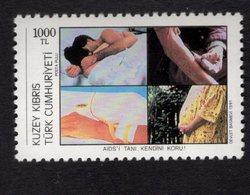 672675997 TURKISH CYPRUS 1991 POSTFRIS MINT NEVER HINGED POSTFRISCH EINWANDFREI SCOTT 313 WORLD AIDS DAY - Chypre (Turquie)
