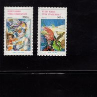 672677044 TURKISH CYPRUS 1992 POSTFRIS MINT NEVER HINGED POSTFRISCH EINWANDFREI SCOTT 320 321 PAINTINGS - Chypre (Turquie)