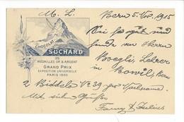 20897 -  Chocolat Suchard Grand Prix De Paris 1900 Le Cervin  Bern 1915 + Cachet  Chapellerie Adler Bern - Publicité