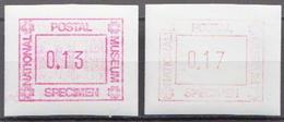 National Postal Museum 2 MNH Machine Stamps - Postzegels