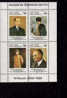 672679600 TURKISH CYPRUS 19898POSTFRIS MINT NEVER HINGED POSTFRISCH EINWANDFREI SCOTT 240 PORTRAITS KEMAL ATATURK - Chypre (Turquie)