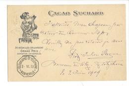 20898 -  Cacao Suchard Grand Prix De Paris 1900 Femme De Neuveville 02.06.01909 Pour Biel + Cachet Télégraphe - Publicité