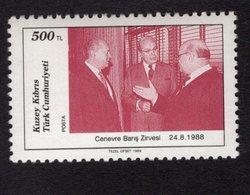 672680809 TURKISH CYPRUS 1989 POSTFRIS MINT NEVER HINGED POSTFRISCH EINWANDFREI SCOTT 247 GENEVA PEACE SUMMIT - Chypre (Turquie)