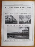 1926 - Construction Charpente  Métallique Ets DECOURT à HAM (Somme)   - Page Originale ARCHITECTURE INDUSTRIELLE - Architecture