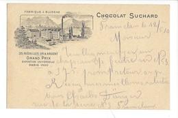 20899 -  Fabrique Bludenz Chocolat Suchard Grand Prix De Paris 1900 De Tramelan 12.05.1910 Pour Bienne - Publicité