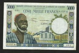 WEST AFRICAN STATES 5000 FRANCS ND (1961-65) PICK #104Ah VF- - États D'Afrique De L'Ouest