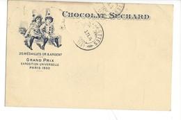 20902-   Chocolat Suchard 2 Arlequins De Chamoson 31.10.1914 + Cachet Receveur De Conthey - Publicité