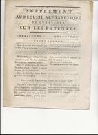 SUPPLEMENT AU RECUEIL ALPHABETIQUE DE QUESTIONS SUR LES PATENTES -1792- SIGNE GOIGOUX - Décrets & Lois
