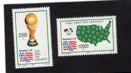 672700411 TURKISH CYPRUS 1994 POSTFRIS MINT NEVER HINGED POSTFRISCH EINWANDFREI SCOTT 365 366 WORLD CUP SOCCER USA - Chypre (Turquie)