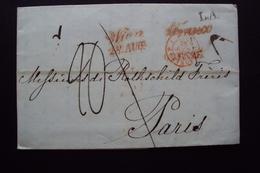 STORIA POSTALE PREFILATELICA O FRANCHIGIA ANNULLO CRENZE PER PARIGI TRANSITO WIEN VIENNA CORSIVO FRANCO - 1. ...-1850 Prefilatelia