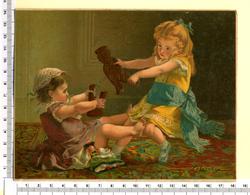 CHROMO  LITHOGRAPHIE CARTONNEE  GRAND FORMAT  14 /18.5 Cm  ...PETITE FILLES...POUPÉES...JOUET CASSE... - Vieux Papiers